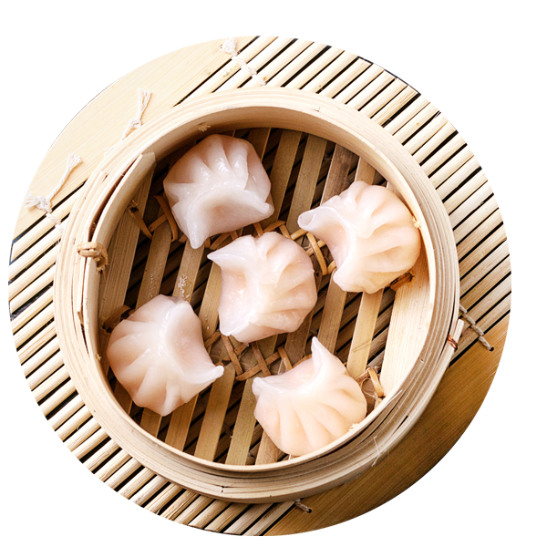 Shrimp Dumplings with Sesame Sauce